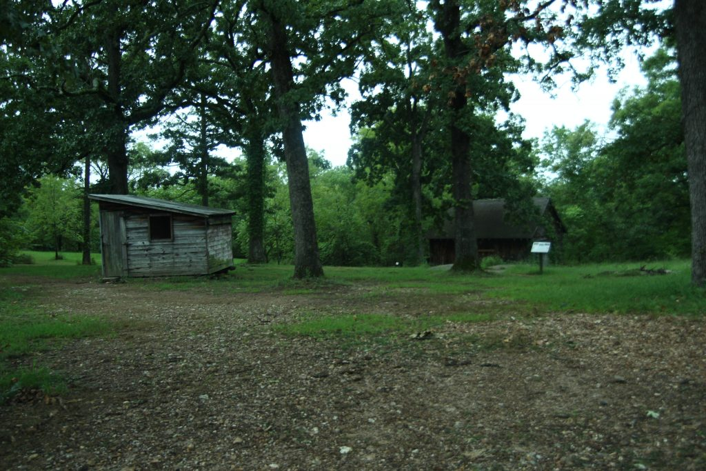 old cabin at the end of a branson hiking trail