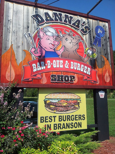 a sign for one of branson's best restaurants
